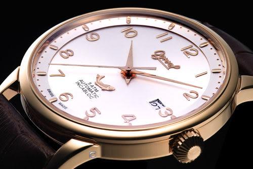Ogival 愛其華 機械錶 1929-24AGR皮  玫瑰金色