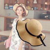 夏季草帽 甜美蝴蝶結波浪大沿帽海邊出游沙灘帽m24