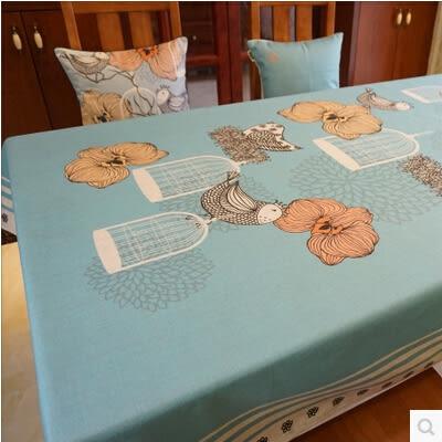 美式鄉村餐桌布藝 田園花鳥圓桌方桌布 加厚棉麻茶几桌布不褪色180*140cm