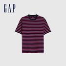 Gap男裝 棉質舒適厚磅條紋短袖T恤 592502-藍粉條紋