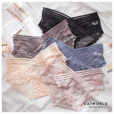 Catworld 交叉橫條網紗蕾絲低腰內褲【18805915】‧F/XL