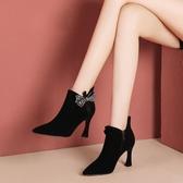 裸靴雪地意爾康短靴女高跟細跟尖頭秋冬韓版馬丁靴絨面蝴蝶結裸靴 小天使