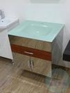 【麗室衛浴】精緻強化玻璃一體面盆66.5*56cm+不銹鋼浴櫃W66*D55*H60cm