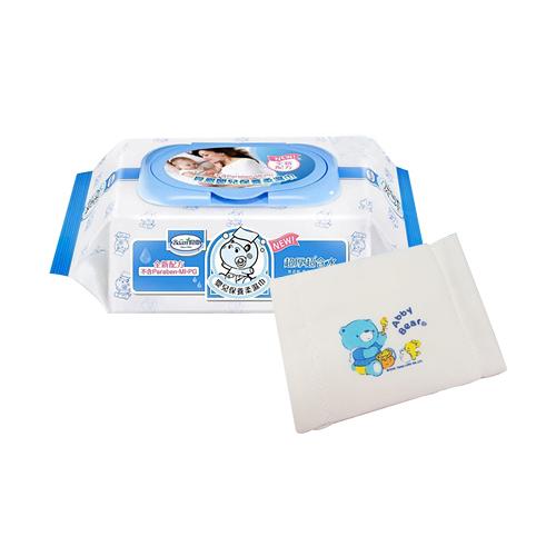 【奇買親子購物網】貝恩Baan NEW嬰兒保養柔濕巾80抽24入/箱 贈艾比熊紗布兒童口罩*1