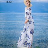 露背吊帶雪紡連身裙波西米亞長裙