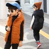 雙十二狂歡 男童馬甲秋冬季2018中童冬裝羽絨棉背心兒童外穿棉服學生連帽外套