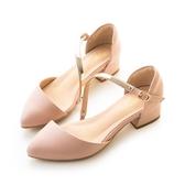amai素面斜口一字軟金屬繞背中跟鞋 粉