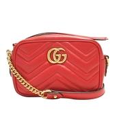 GUCCI 古馳 紅色牛皮斜背相機包 GG Marmont Matelasse Mini Bag 448065 【BRAND OFF】