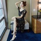 VK精品服飾 韓系荷葉邊袖雪紡修身顯瘦碎花短袖洋裝