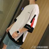 夏季ins五分袖t恤男短袖韓版潮寬鬆半截袖體恤潮牌5分上衣ulzzang  潮流前線