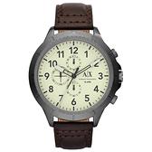 A│X Armani Exchange 時刻終戰三眼計時腕錶-白X深咖啡皮帶