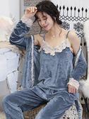金絲絨睡衣女春秋天鵝絨可外穿家居服珊瑚絨性感長袖吊帶三件套裝     原本良品