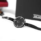 NATURALLY JOJO / JO96918-88F / 優雅迷人 藍寶石水晶玻璃 晶鑽刻度 米蘭編織不鏽鋼手錶 黑色 31mm