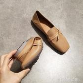 豆豆鞋 春夏平底方頭單鞋女淺口平跟軟底豆豆鞋復古風奶奶鞋舒適開車鞋 夢露時尚女裝