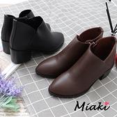 踝靴-時尚V字美型中跟短靴