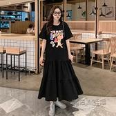 韓國東大門2021夏季新款可愛卡通拼接連身裙短袖中長款T恤女寬鬆 夏季狂歡
