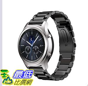 [美國直購] 三星Gear S3 Classic Frontier手錶錶帶 替換腕帶 金屬不銹鋼22mm 蝴蝶扣 S3黑色 _e2d
