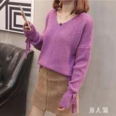 毛衣秋季新款純色袖口抽帶中長款蝙蝠衫套頭針織打底衫 zm6169『男人範』