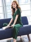 莫代爾睡衣女夏季薄款帶胸墊可外穿兩件套短袖長褲綠色春秋家居服「時尚彩紅屋」