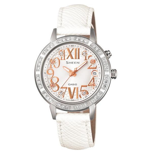 CASIO SHEEN系列 璀璨華麗仕女腕錶-白