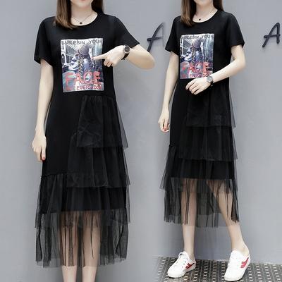M4XL胖妹妹大碼洋裝連身裙~大碼大版T恤裙紗網拼接印花寬松大碼連身裙4F101莎菲娜