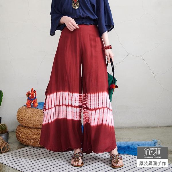 【潘克拉】藍染半鬆緊高腰封縲縈飄逸裙褲 TM735 FREE紅色