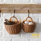 北歐編織籃廚房姜蒜收納筐復古壁掛籃手提小花籃【輕奢時代】