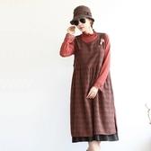 正韓 格紋開叉假兩件無袖洋裝 (BFSA) 預購