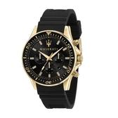 MASERATI 瑪莎拉蒂 經典SFIDA三眼矽膠錶帶腕錶44mm(R8871640001)