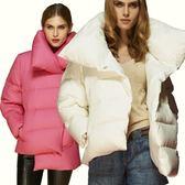 羽絨夾克-純色時尚不規則下擺加厚保暖女外套2色73pv8[巴黎精品]