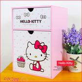 〖LifeTime〗﹝kitty直式兩抽盒﹞正版透明抽屜 化妝櫃 飾盒 收納盒 置物盒 凱蒂貓 B01089