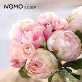 北歐國度 牡丹茶花把束花仿真花 大氣柔美的新娘手捧花 攝影道具   泡芙女孩輕時尚