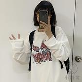 圓領原宿風卡通寬鬆純棉長袖T恤女【小酒窩服飾】