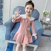 女童長袖洋裝女童秋裝洋裝新款韓版時尚寶寶公主裙秋季長袖娃娃領裙子潮快速出貨