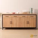【德泰傢俱工廠】格萊斯原切木輕工業風6尺餐櫃 B001-706-B