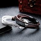 《 QBOX 》FASHION 飾品【L100N1258】精緻個性創意羽毛合金編織皮革手鍊/手環(五色)