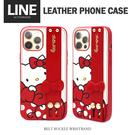Hello Kitty正版授權 手掌帶燙金皮革手機殼 iPhone12/12pro/12proMax 防摔防掉落/支架式