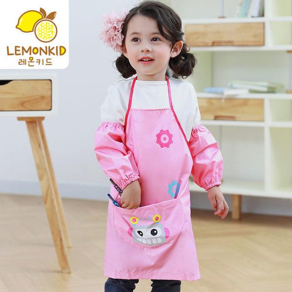 Lemonkid 檸檬寶寶 可愛機器人畫畫衣罩衣卡通造型 防水耐髒 圍裙式綁帶 男女款 KQ15429/LE160102