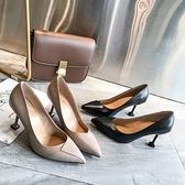 尖頭細跟職業空姐鞋工作鞋女單鞋黑色正裝面試粗跟中跟高跟小皮鞋 雙12全館免運
