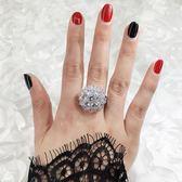 歐美夸張個性的花朵滿鉆戒指食指女氣質百搭潮款指環大氣韓國戒子 IV3166 【大尺码女王】
