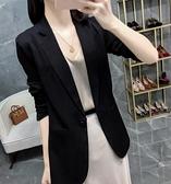 春夏薄款小西裝外套女2021年新款韓版修身顯瘦七分袖防曬西服上衣 黛尼時尚精品