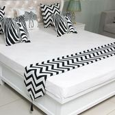 黑白波浪紋簡約現代時尚賓館酒店床旗床尾巾餐桌巾床蓋布床墊