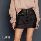 PUFII-短裙 三釦彈性皮紋短褲裙-1205 現+預 冬【CP17692】
