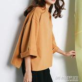 2019春季新款蝙蝠七分袖上衣T恤女長袖寬鬆韓版短款圓領313  時尚教主