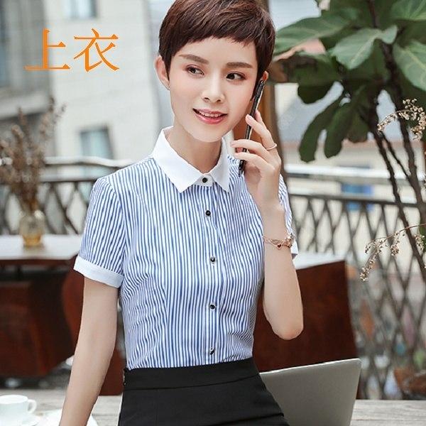 美之札[8Y395-PF]視覺顯瘦直條紋職業感OL短袖襯衫上衣(不含領結)
