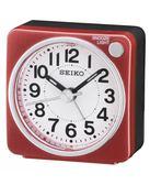 SEIKO 精工鐘 旅行靜音攜帶迷你鬧鐘 紅色 燈光賴床貪睡鬧鐘 公司貨保固1年 QHE118R