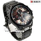 CURREN 卡瑞恩 帥氣簡約時刻三眼造型大錶徑男錶 防水手錶 學生錶 黑 CU8274槍黑