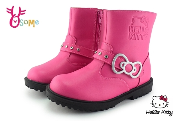 Hello kitty 女童馬靴 中大童 凱蒂貓 蝴蝶 機車靴 台灣製 M8094#粉紅 ◆OSOME奧森鞋業