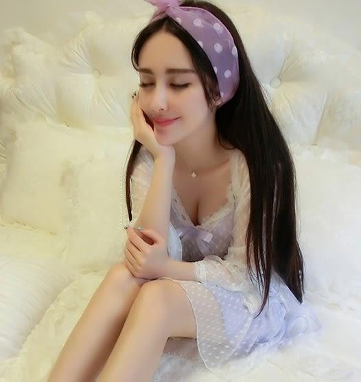 春季性感甜美心形歐美大牌同款性感V領緞帶蝴蝶兩件套睡衣-111900571