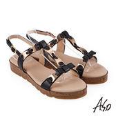 A.S.O 希臘渡假 蝴蝶結鍊飾全真皮羅馬休閒涼鞋 黑